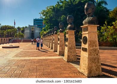 SANTO DOMINGO - DOMINICAN REPUBLIC - January 19, 2019 : People visit Parque Independencia of Santo Domingo old town Dominican Republic.