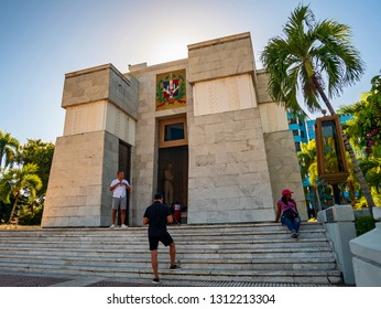 SANTO DOMINGO - DOMINICAN REPUBLIC - January 21, 2019 : People visit mausoleum of Duarte Sanchez and Mella padres de la patria of Dominican Republic in Parque Independencia of Santo Domingo.