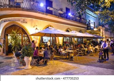 SANTO DOMINGO, DOMINICAN REPUBLIC - January 24: Famous Hotel Restaurant  EL CONDE in Conde Street. Taken in Janaury 24, 2016 in Santo Domingo, Dominican Republic.