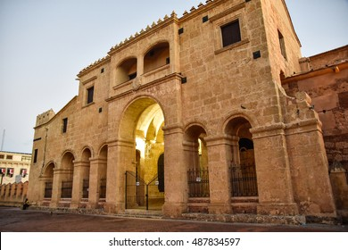 SANTO DOMINGO, DOMINICAN REPUBLIC - January 24: View of famous Cathedral in Columbus Park, Colonial Zone. January 24, 2016 Santo Domingo, Dominican Republic.