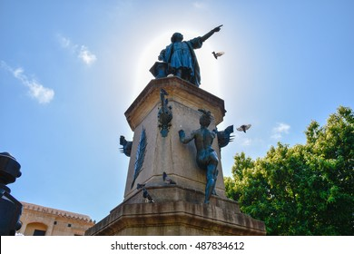 SANTO DOMINGO, DOMINICAN REPUBLIC - January 24: View of famous Christopher Columbus statue in Columbus Park, Colonial Zone. January 24, 2016 Santo Domingo, Dominican Republic.