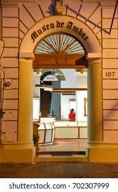 SANTO DOMINGO, DOMINICAN REPUBLIC - January 29, 2016: Amber museum located in Columbus Park. Colonial Zone of Santo Domingo, UNESCO World heritage.