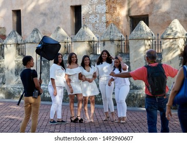 SANTO DOMINGO, DOMINICAN REPUBLIC - JUNE 12, 2019: Beautiful Dominican girls durning a photoshoot in zona colonial.