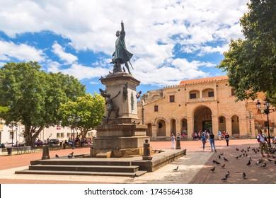 Santo Domingo, Dominican Republic - March, 2020: Columbus Statue and Cathedral in Columbus Park or Parque Colon. World Famous landmarks in Santo Domingo, Dominican Republic.