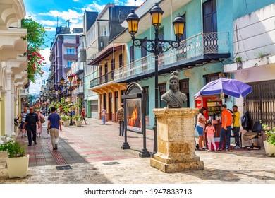 Santo Domingo, Dominican Republic - March, 2020: Statue of Bartholomew Columbus on Calle el Conde street in the colonial city center of Santo Domingo, Dominican Republic.