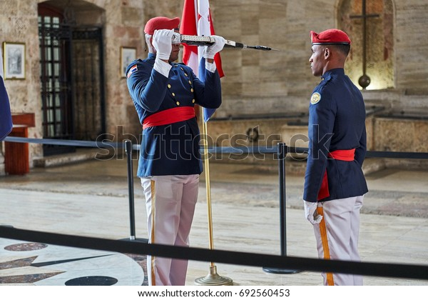 SANTO DOMINGO, DOMINICAN REPUBLIC - MARCH 24, 2017: Changing of the Honor Guard inside National Pantheon of the Dominican Republic. The country's most famous persons are honored here.