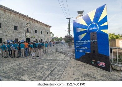 Santo Domingo - Dominican Republic, May, 3 2019: - Unidentified students from various schools gathering at the public anual Book Fair, Held for the 1st time in the historical Colonial Zone.
