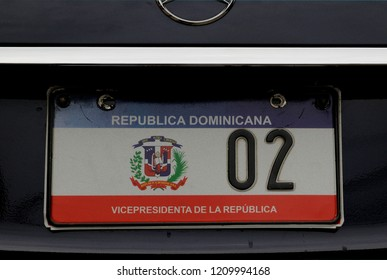santo domingo. dominican republic - november 01, 2013: the registration plate at the official  limousine of the vice president of the dominican republic  ( margarita maria cedeno lizardo )