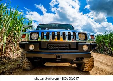 SANTO DOMINGO, DOMINICAN REPUBLIC - OCTOBER 29, 2015: Hummer H2 front