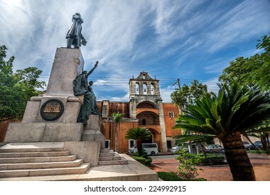SANTO DOMINGO, DOMINICAN REPUBLIC - SEPTEMBER 17, 2014: Parque Duarte in the old part of Santo Domingo called Zona Colonial, with colonial building in background