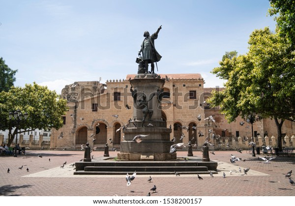 Santo Domingo, Dominican Republic, September 7, 2019: Columbus Park in the Colonial Zone of Santo Domingo with the Primate Cathedral of America in the background
