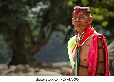 SANTO DOMINGO, ECUADOR - AUGUST 5, 2011: Unidentified indigenous shaman from the indigenous group of Santo Domingo de los Tsachilas