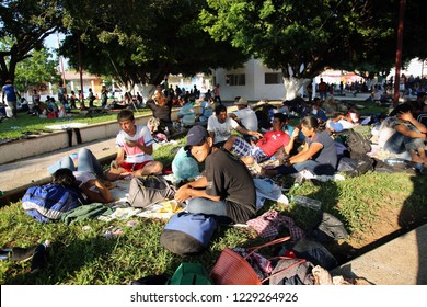 Santo Domingo Ingenio, Oaxaca/Mexico - Nov. 7, 2018:  Hondurans fleeing poverty and gang violence in the second caravan to the U.S. rest at an impromptu migrant shelter.