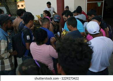 Santo Domingo Ingenio, Oaxaca/Mexico - Nov. 7, 2018: A volunteer gives bananas to Hondurans fleeing poverty and gang violence in the second caravan to the U.S. at an impromptu migrant shelter.