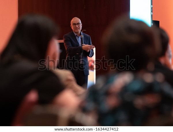 SANTO DOMINGO/DOMINICAN REPUBLIC - FEBRUARY 1, 2020: Doctor José Flores Rivera from Mexico gives a lecture organized by Merck on new treatments for Multiple Sclerosis to Dominican neurologists team.