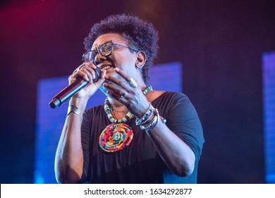 SANTO DOMINGO/DOMINICAN REPUBLIC- FEBRUARY 2, 2020: Foreground of the Dominican singer and composer Xiomara Fortuna while performs onstage during Santo Domingo Pop festival. Folklore and jazz music.