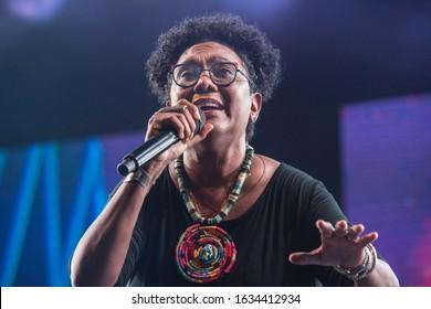 SANTO DOMINGO/DOMINICAN REPUBLIC- FEBRUARY 2, 2020: Dominican singer and composer Xiomara Fortuna performs onstage during concert at Santo Domingo Pop festival.
