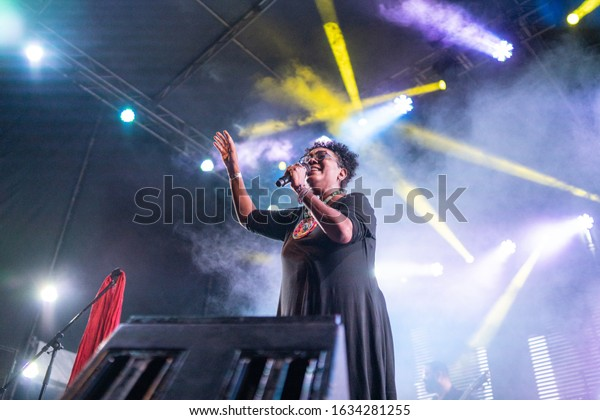SANTO DOMINGO/DOMINICAN REPUBLIC- FEBRUARY 2, 2020: Xiomara Fortuna, dominican singer and composer, performs onstage during Santo Domingo Pop festival. Concert included afro dominican rhythms music.