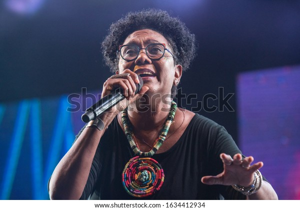 SANTO DOMINGO/DOMINICAN REPUBLIC- FEBRUARY 2, 2020: Dominican singer and composer Xiomara Fortuna performs onstage during concert at Santo Domingo Pop festival.