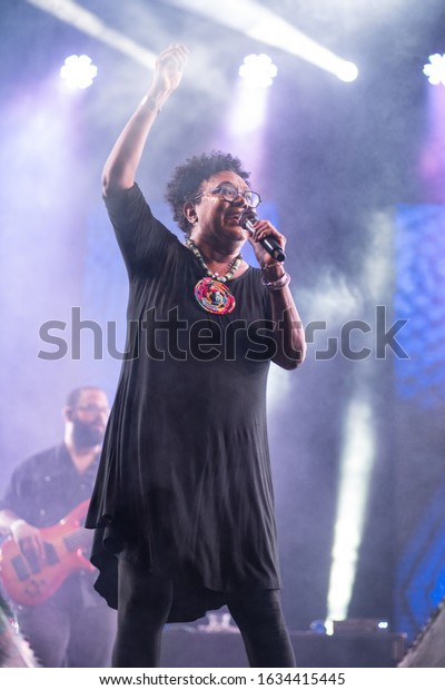 SANTO DOMINGO/DOMINICAN REPUBLIC- FEBRUARY 2, 2020: Xiomara Fortuna performs onstage during Santo Domingo Pop festival at National Botanical Garden of Santo Domingo. Vertical shot.