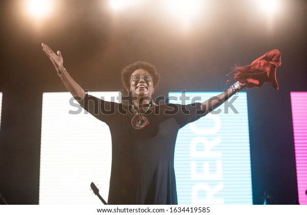 SANTO DOMINGO/DOMINICAN REPUBLIC- FEBRUARY 2, 2020: Xiomara Fortuna, dominican singer and composer, poses onstage with open arms at Santo Domingo Pop festival closing performance.