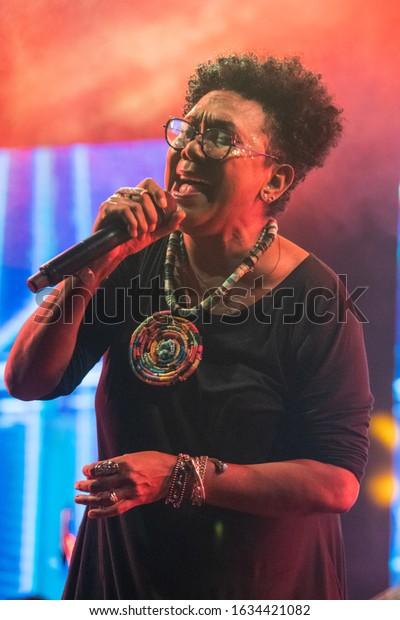 SANTO DOMINGO/DOMINICAN REPUBLIC- FEBRUARY 2, 2020: Vertical shot of Xiomara Fortuna, dominican singer and composer,  during Santo Domingo Pop festival.