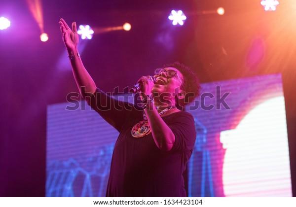SANTO DOMINGO/DOMINICAN REPUBLIC- FEBRUARY 2, 2020: Xiomara Fortuna, Dominican singer and composer  performs onstage during concert at Santo Domingo Pop festival.