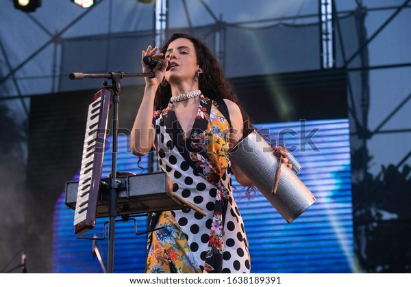 SANTO DOMINGO/DOMINICAN REPUBLIC- FEBRUARY 2, 2020: Dominican singer and composer La Marimba performs onstage during Santo Domingo Pop festival.