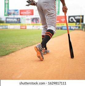 SANTO DOMINGO/DOMINICAN REPUBLIC- JANUARY 28, 2020: Baseball player walks with bat on hand on Estadio Quisqueya field before game between Tigres del Licey and Toros del Este on final season 2020.