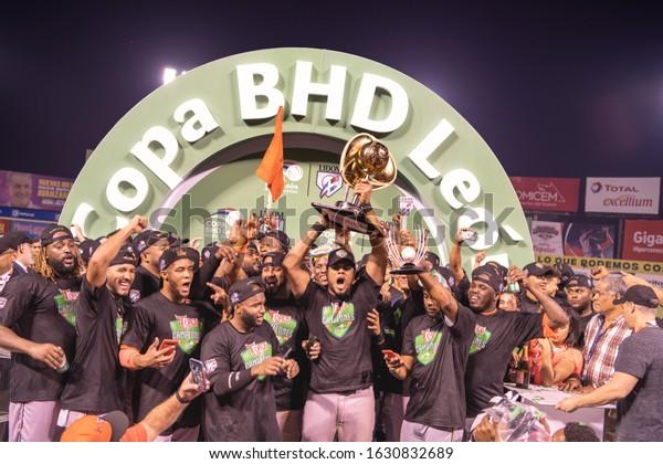 SANTO DOMINGO/DOMINICAN REPUBLIC- JANUARY 28, 2020: Toros del Este celebrates the victory against Tigres del Licey winning the baseball championship of the Dominican Republic at  Quisqueya Stadium.