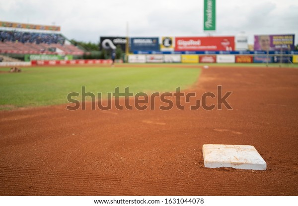 SANTO DOMINGO/DOMINICAN REPUBLIC- JANUARY 28, 2020: Quisqueya Stadium baseball field and stands from the first base prior to final championship game. Toros defeat Licey 7-1 winning the national league