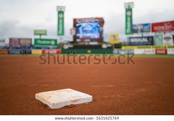 SANTO DOMINGO/DOMINICAN REPUBLIC- JANUARY 28, 2020: First base of Quisqueya Stadium baseball field before final game between Toros del Este and Tigres del Licey.