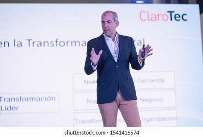 SANTO DOMINGO/DOMINICAN REPUBLIC - OCTOBER 25, 2019: Nokia Digital Transformation Global Lead, Agustín Pozo during ClaroTec 2019 conference. Technology event in Santo Domingo by Claro Dominicana.