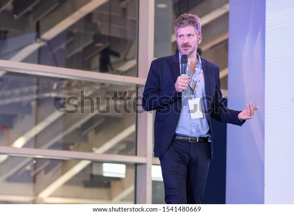 SANTO DOMINGO/DOMINICAN REPUBLIC - OCTOBER 25, 2019: Google Country Manager Colombia, Central America and Caribbean, Giovanni Stella speaks during ClaroTec 2019.