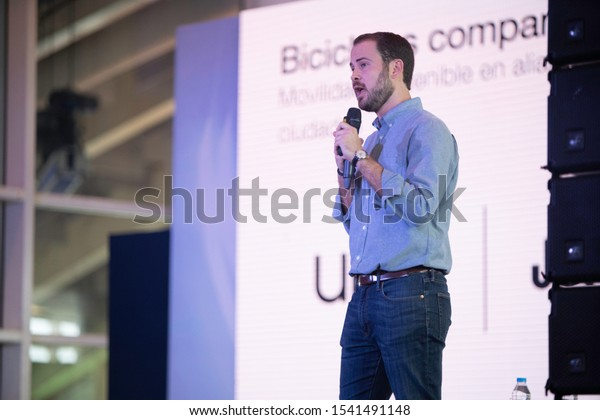 SANTO DOMINGO/DOMINICAN REPUBLIC - OCTOBER 25, 2019: Uber General Manager Panama and Caribbean, Gabriel Gutiérrez speaks during ClaroTec 2019. Technology and mobile event in Dominican Republic.