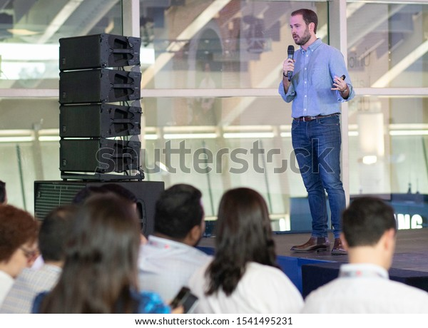 SANTO DOMINGO/DOMINICAN REPUBLIC - OCTOBER 25, 2019: Uber General Manager Panama and Caribbean, Gabriel Gutiérrez speaks during ClaroTec 2019 in front of more than 300 people in Santo Domingo.
