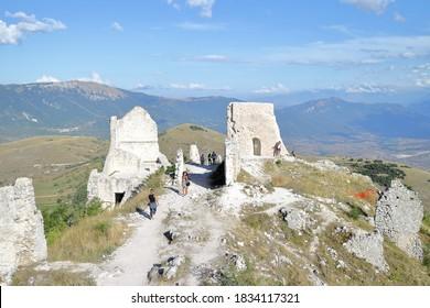 Santo Stefano di Sessanio, Italy - 08/23/2020: Rocca Calascio near the town of Santo Stefano di Sessanio in the province of L'Aquila