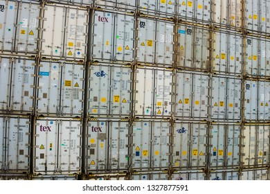 Santo Stefano Magra, Italy - March 1 2019: containers stacked in the yard