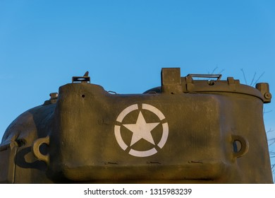 Sant'Oreste, Italy - 01 13 2019: Back view of an M4 Sherman tank turret, with the American Army symbol painted in white.
