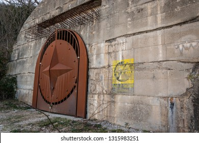 Sant'Oreste, Italy - 01 13 2019: Italian World War 2 fallout shelter entrance, built in concrete underneath Mount Soratte .