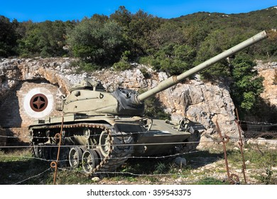 SANT'ORESTE, ITALY - NOVEMBER 30 2013: Close up of the tank Mount Soratte, in the province of Viterbo, dating back to the Second World War.