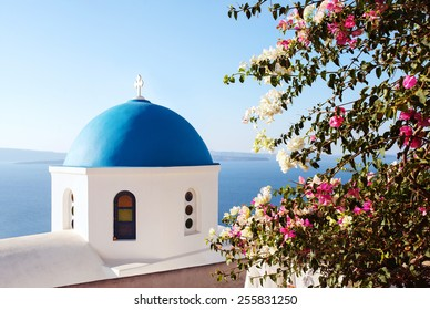 Santorini, classic view of blue dome church with Bugambilia Flowers. Oia Village, Greece.