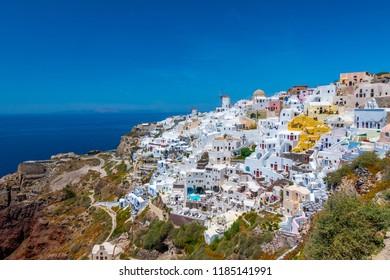Santorini, Greece - 12 June 2017: Oia in the greek island of Santorini.