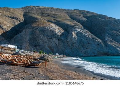 Santorini, Greece - 12 May 2017: Black Beach in Perissa.