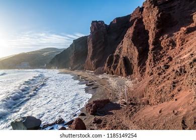 Santorini, Greece - 12 May 2017: Red Beach in Santorini Island.