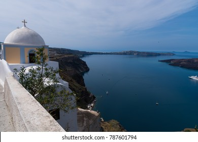 Santorini, Greece (April 2017). Scenic view of traditional greek church in Firostefani district, Santorini island, Greece
