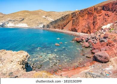 SANTORINI, GREECE - AUG 11, 2020: Red beach. Santorini, Cycladic Islands, Greece.