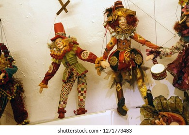 SANTORINI, GREECE - DEC 2, 2018 - Traditional marionette puppet in antique store in Santorini, Greece