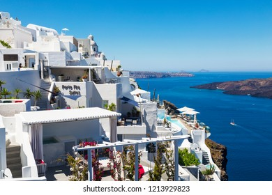 SANTORINI, GREECE - JUNE 09, 2017: View of Fira town, Santorini, Greece