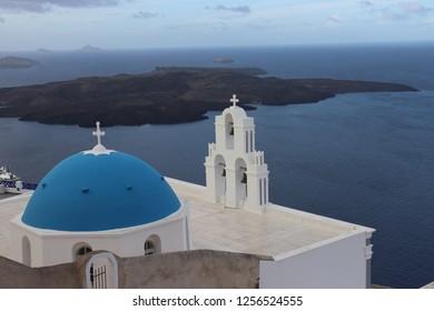 Santorini, Greece, November 27th 2018: Church above Santorini caldera